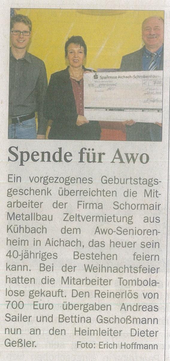 Tombola Spende für AWO-Heim