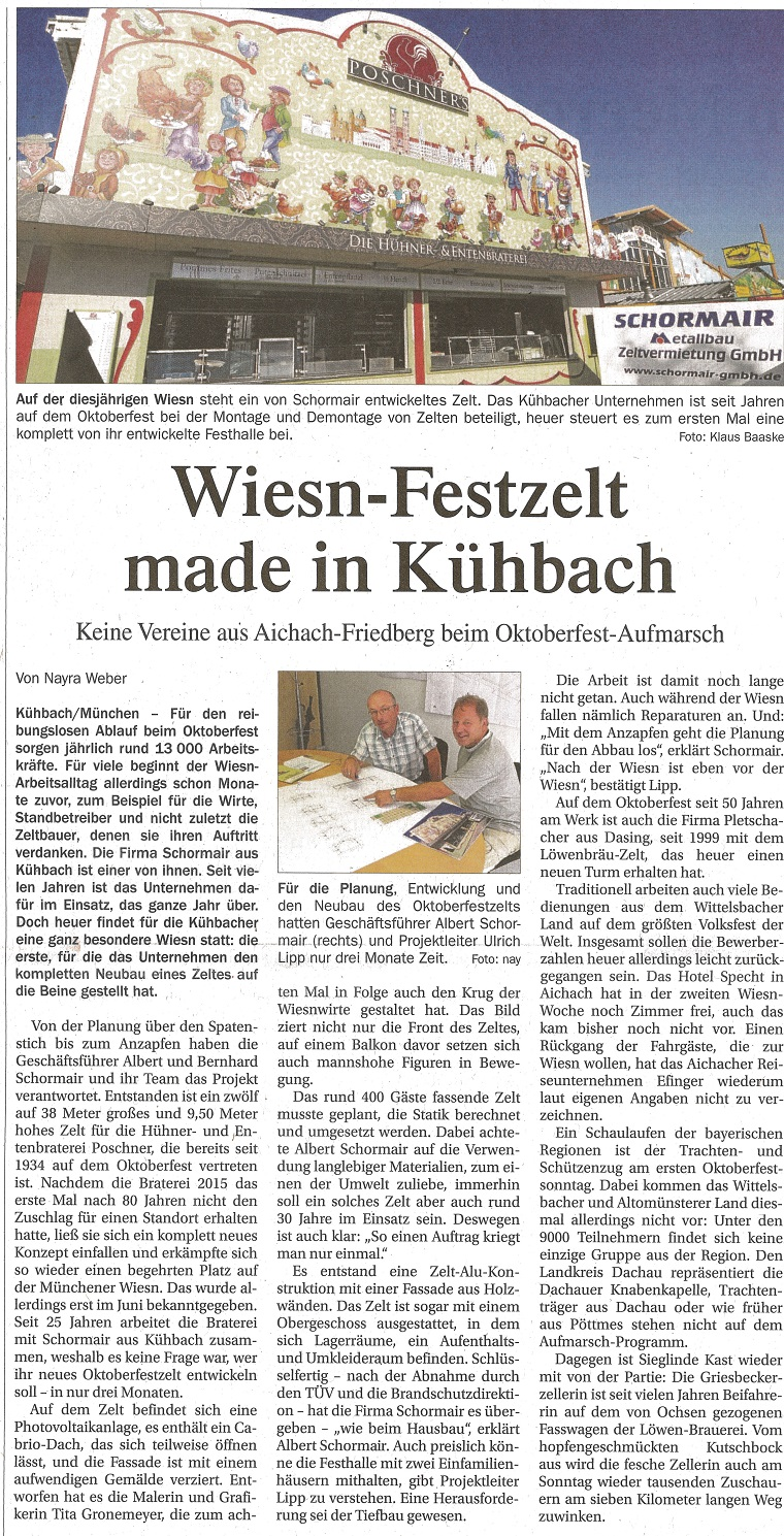 Zeitungsbericht Aichacher Zeitung Nr. 216